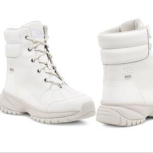 Ugg Yose Waterproof Lace-Up White Boots Size 8